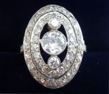 Beautiful art deco platinum 1.51ct diamond vintage antique cluster ring